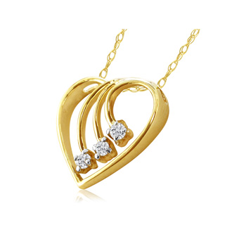 Fine Diamond Spray Heart Pendant, 14k Yellow Gold