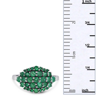1.30ct Emerald Cluster Ring Crafted In Solid Sterling Silver
