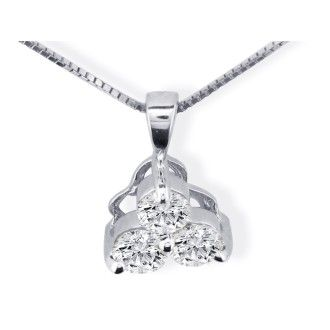 1/8ct Three Diamond Triangle Style Diamond Pendant In 14k White Gold
