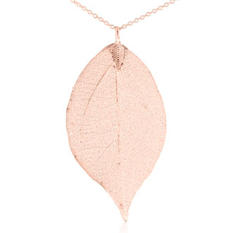 24k Rose Gold Overlay Leaf Pendant on Chain