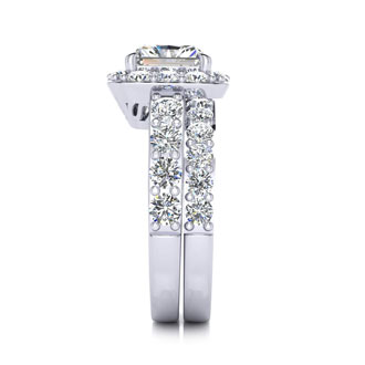 2 1/4 Carat Radiant Halo Diamond Bridal Set in 14k White Gold