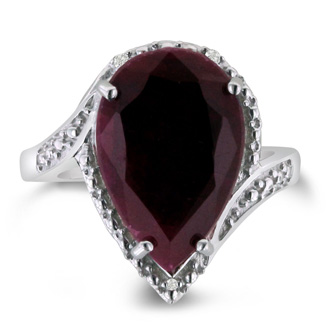7ct Pear Shape Ruby And Diamond Ring Crafted In Solid Sterling Silver