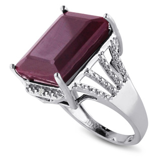 15ct Emerald Shape Ruby And Diamond Ring Crafted In Solid Sterling Silver