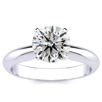 1 1/2 Carat Diamond Solitaire Engagement Ring In 14K White Gold