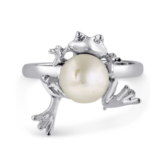 Super Cute Frog Shaped Freshwater Pearl Ring