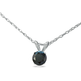 1/4ct Black Diamond Pendant in Sterling Silver. Incredible Deal On A Mysterious Black Diamond! Free 18 Inch Chain!