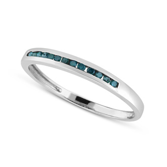 Skinny 1/8ct Channel Set Blue Diamond Band in Sterling Silver