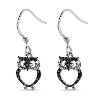 Black Diamond Owl Earrings Crafted In Solid Sterling Silver