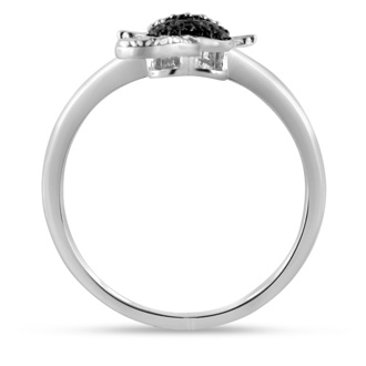 Black Diamond Cat Ring Crafted In Solid Sterling Silver
