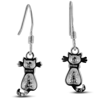 Black Diamond Cat Earrings Crafted In Solid Sterling Silver