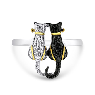 Two Tone Black Diamond Cat Ring Crafted In Solid Sterling Silver