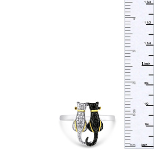 d6d13e9b2b Two Tone Black Diamond Cat Ring Crafted In Solid Sterling Silver ...