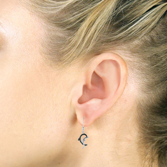 Black Diamond Dolphin Earrings Crafted In Solid Sterling Silver