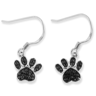 Black Diamond Dog Paw Earrings Crafted In Solid Sterling Silver