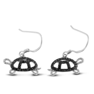 Black Diamond Turtle Earrings Crafted In Solid Sterling Silver