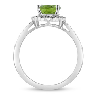 2ct Oval Peridot And Diamond Halo Ring Crafted In Solid Sterling Silver
