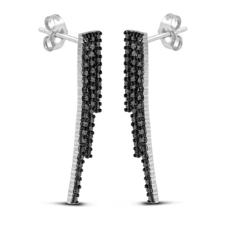 Dramatic 1ct Black Diamond Multi-Row Line Earrings Crafted In Solid Sterling Silver