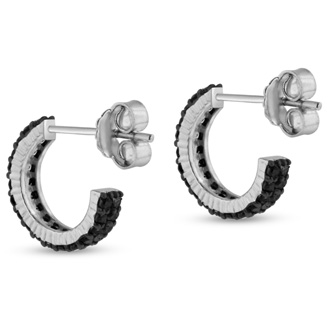 1ct Black Diamond Pave Hoop Huggy Earrings Crafted In Solid Sterling Silver