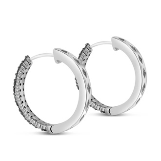 1ct Black Diamond Pave Hoop Earrings