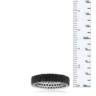 2ct Black Diamond Triple Row Eternity Band Crafted in Solid Sterling Silver, Only Size 5 Left!