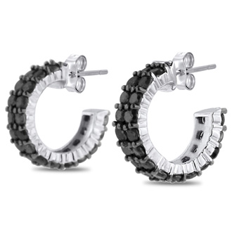 2ct Black Diamond Pave Hoop Huggy Earrings Crafted In Solid Sterling Silver
