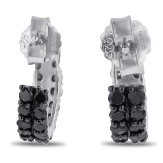 2ct Black Diamond Pave Hoop Huggy Earrings Crafted In Solid Sterling Silver