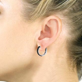 2ct Black Diamond Pave Hoop Earrings