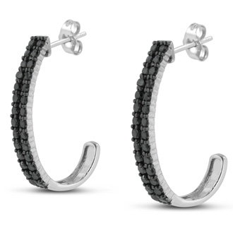 Absolute Blowout! 2ct Black Diamond Double Row Hoop Earrings Crafted In Solid Sterling Silver.  Selling at $60 Below Cost