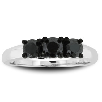 1ct Triple Black Diamond Ring Crafted In Solid Sterling Silver, Available in Other Diamond Weights