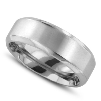 7 MM Polished Classic Men's Titanium Ring Wedding Band