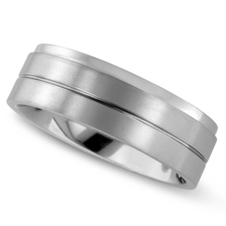 8 MM Brushed Finish Men's Titanium Ring Wedding Band