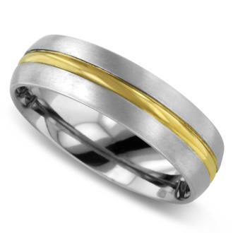 7 MM Two-Tone Men's Titanium Ring Wedding Band