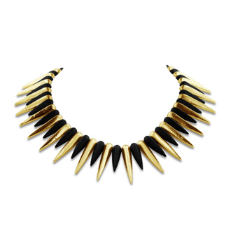 Black and Gold Plated Spike Necklace, 18 Inches