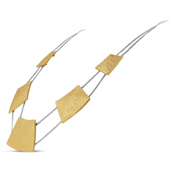 Brushed Gold Tone Geometric Necklace, 18 Inches