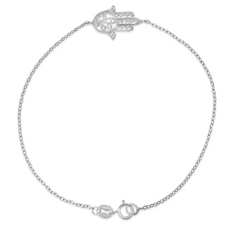 Dainty Hamsa Bracelet, 7 Inches. Be Lucky and Protected
