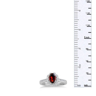 1 1/4ct Oval Garnet and Diamond Ring Crafted In Solid 14K White Gold