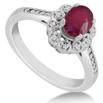 1 1/4ct Oval Ruby and Diamond Ring Crafted In Solid 14K White Gold