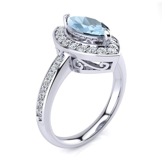 1ct Marquise Aquamarine and Diamond Ring Crafted In Solid 14K White Gold
