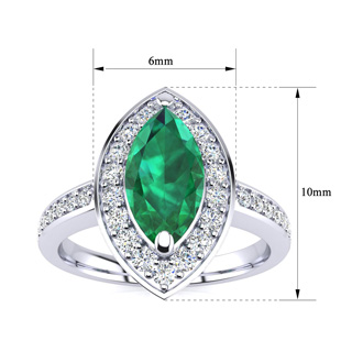 1ct Marquise Emerald and Diamond Ring Crafted In Solid 14K White Gold