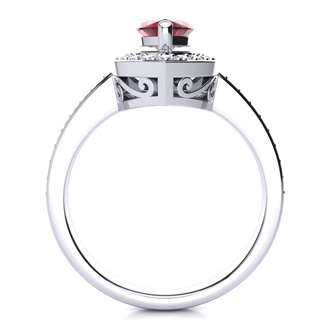 1ct Marquise Garnet and Diamond Ring Crafted In Solid 14K White Gold