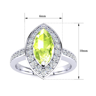 1 Carat Marquise Peridot and Diamond Ring In 14 Karat White Gold