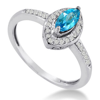 3/4ct Marquise Blue Topaz and Diamond Ring Crafted In Solid 14K White Gold
