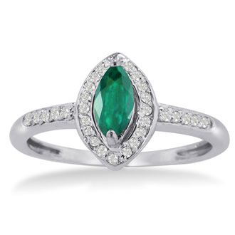 3/4ct Marquise Emerald and Diamond Ring Crafted In Solid 14K White Gold