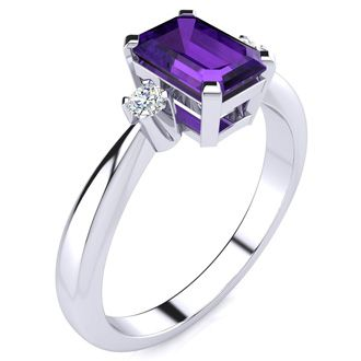 1ct Emerald Cut Amethyst and Diamond Ring Crafted In Solid 14K White Gold