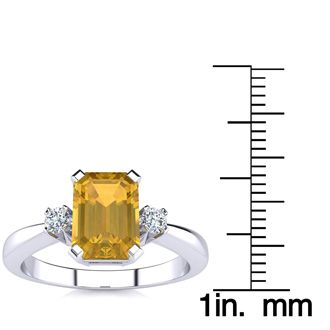 1 1/2ct Citrine and Diamond Ring Crafted In Solid 14K White Gold