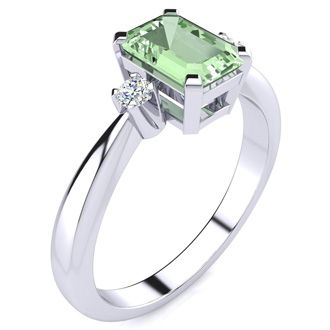 1ct Emerald Cut Green Amethyst and Diamond Ring Crafted In Solid 14K White Gold