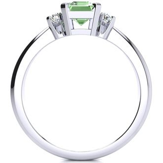 1ct Green Amethyst and Diamond Ring Crafted In Solid 14K White Gold