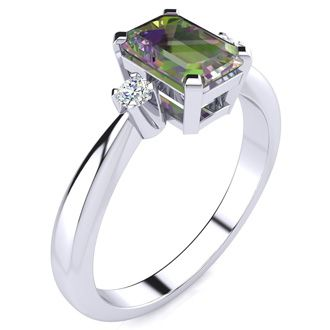 1ct Mystic Topaz and Diamond Ring Crafted In Solid 14K White Gold