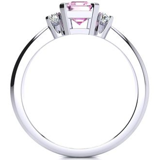 1ct Emerald Cut Pink Topaz and Diamond Ring Crafted In Solid 14K White Gold