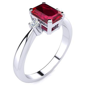 1ct Emerald Cut Ruby and Diamond Ring Crafted In Solid 14K White Gold